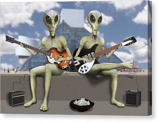 Bass Guitars Canvas Print - Alien Vacation - Trying To Make Ends Meet by Mike McGlothlen