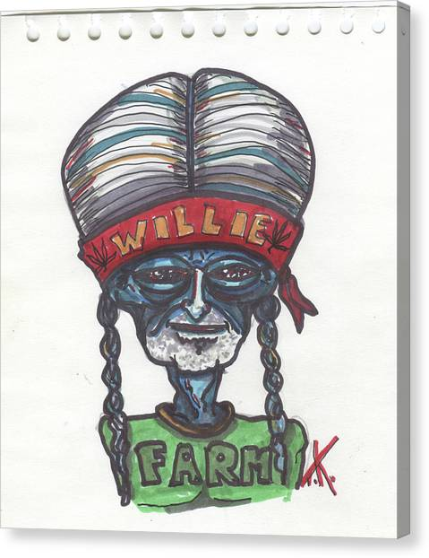 alien Willie Nelson Canvas Print