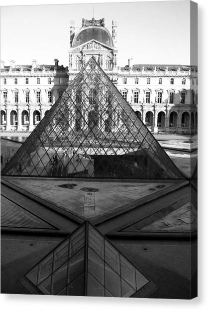 Aligned Pyramids At The Louvre Canvas Print