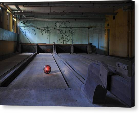 Bowling Canvas Print - All Alone by Luke Moore