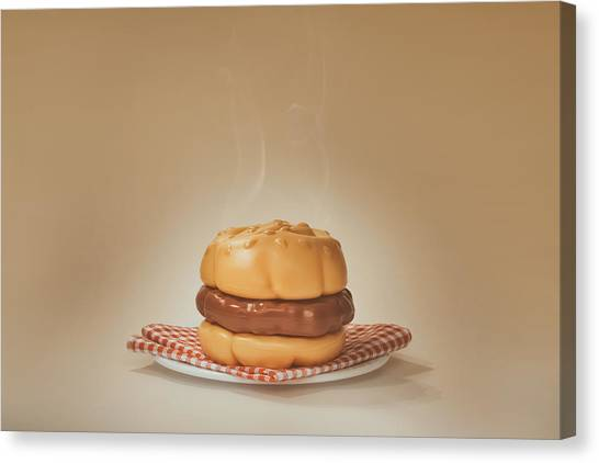 Meat Canvas Print - All-american Burger by Scott Norris