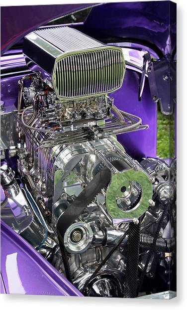 Canvas Print featuring the photograph All Chromed Engine With Blower by Bob Slitzan