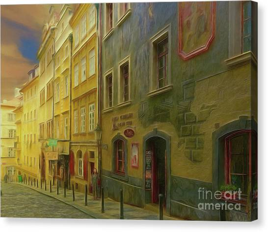 All Downhill From Here - Prague Street Scene Canvas Print