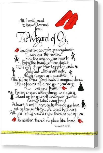 Brain Canvas Print - All I Need To Know I Learned From The Wizard Of Oz by Linda Harris