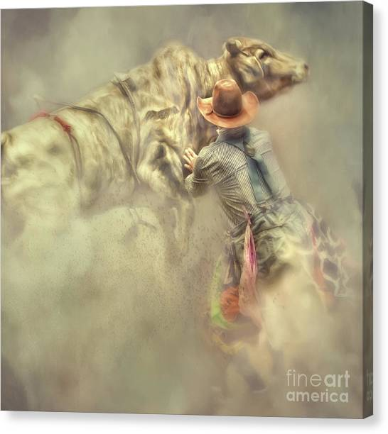 Rodeo Clown Canvas Print - All In A Day's Work by Jan Galland