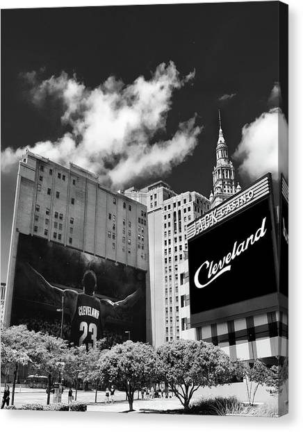 Lebron James Canvas Print - All In Cleveland by Kenneth Krolikowski