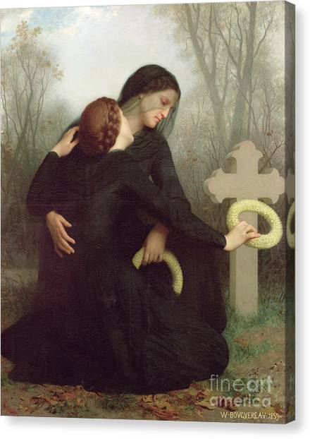 Black Widow Canvas Print - All Saints Day by William Adolphe Bouguereau