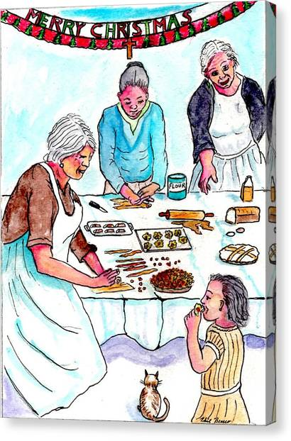 All The Girls Baking For Christmas Canvas Print