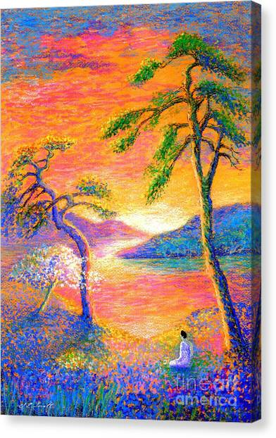 Monks Canvas Print -  Buddha Meditation, All Things Bright And Beautiful by Jane Small