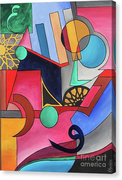 Canvas Print featuring the painting Allah-muhammad by Nizar MacNojia