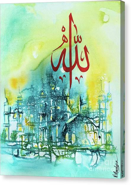 Canvas Print featuring the painting Allah by Nizar MacNojia