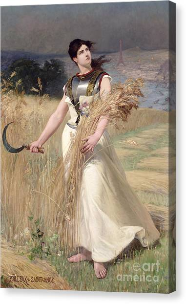 Corn Field Canvas Print - Allegory Of France by Georges Louis Poilleux Saint Ange