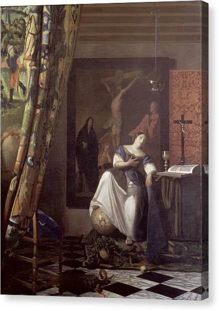 Chequered Canvas Print - Allegory Of The Faith by Jan Vermeer