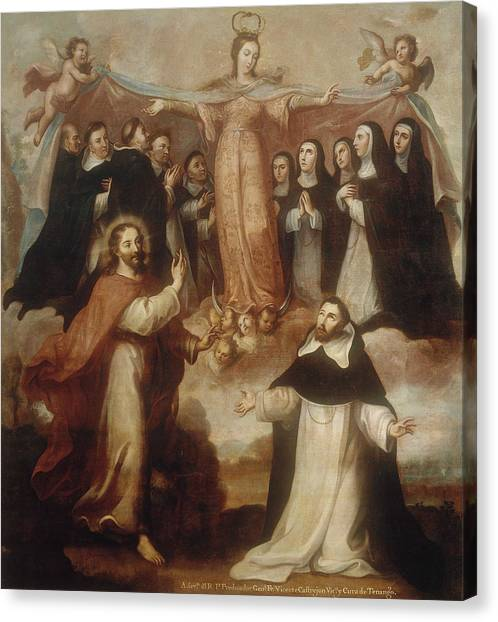 18th Century Canvas Print - Allegory Of The Virgin Patroness Of The Dominicans by Miguel Cabrera