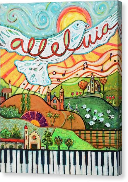 Worship Canvas Print - Alleluia by Jen Norton