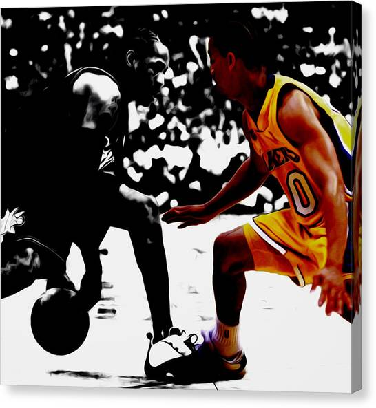 Memphis Grizzlies Canvas Print - Allen Iverson And Tyronn Lue by Brian Reaves