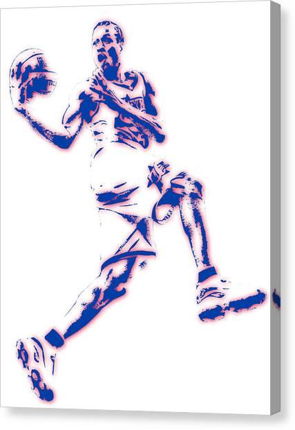 Philadelphia Sixers Canvas Print - Allen Iverson Philadelphia Sixer Pixel Art by Joe Hamilton
