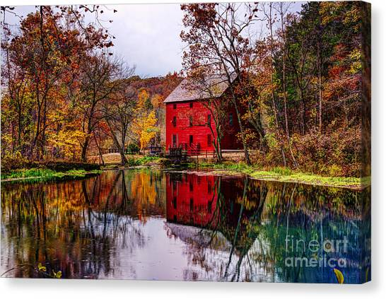 Alley Mill And Alley Spring In Autumn Canvas Print
