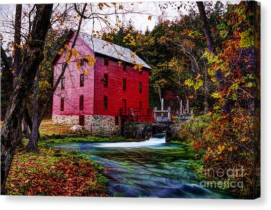 Alley Mill And Alley Spring Near Eminence Missouri Canvas Print