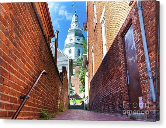 Alley View Of Maryland State House  Canvas Print