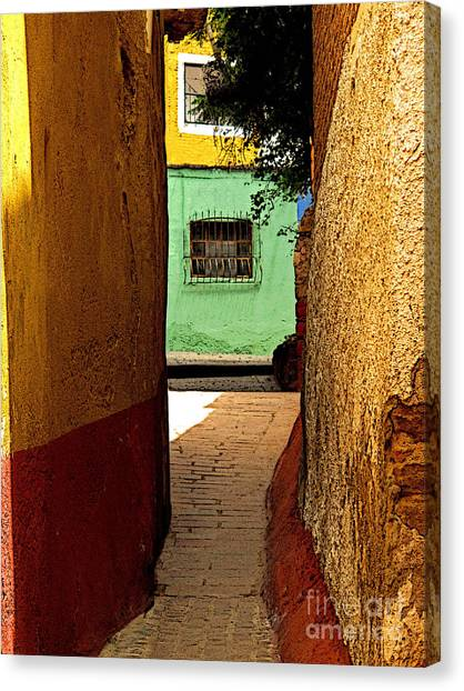 Alley With The Green Casa Canvas Print by Mexicolors Art Photography