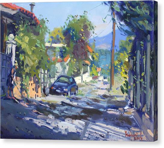 Winery Canvas Print - Alleyway By Lida's House Greece by Ylli Haruni