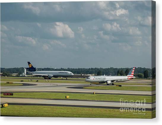 Star Alliance Canvas Print - Allies In Passing Lufthansa Cargo American Airlines Atlanta Airport Art by Reid Callaway