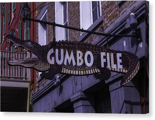 Gumbo Canvas Print - Alligator Sign by Garry Gay