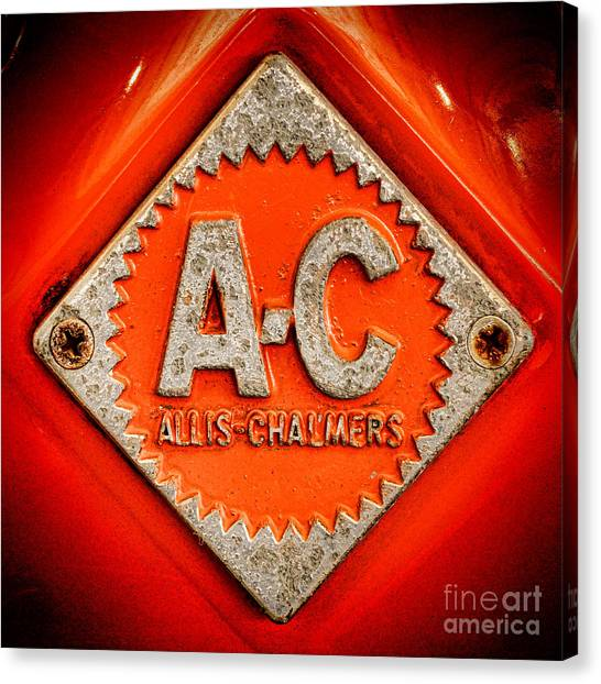 Tractors Canvas Print - Allis Chalmers Badge by Olivier Le Queinec