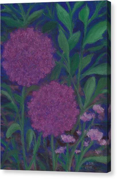 Allium And Geranium Canvas Print