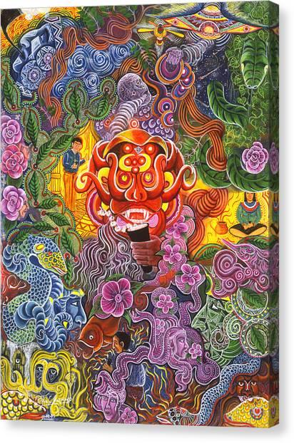 Canvas Print featuring the painting Allpa Manchari by Pablo Amaringo