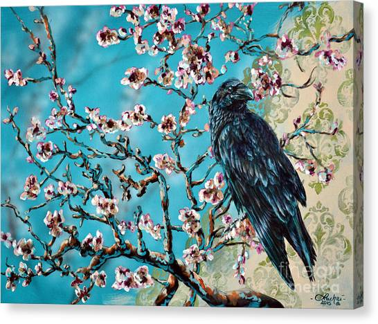 Almond Branch And Raven Canvas Print