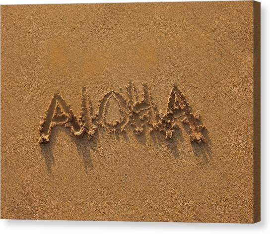 Aloha In The Sand Canvas Print
