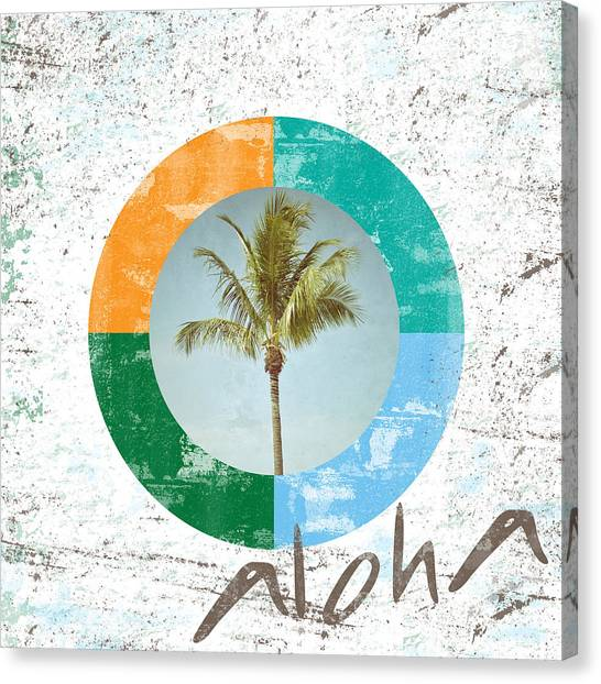 Tropical Canvas Print - Aloha Palm Tree by Brandi Fitzgerald