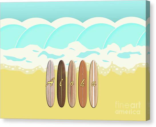 Aloha Surf Wave Beach Canvas Print