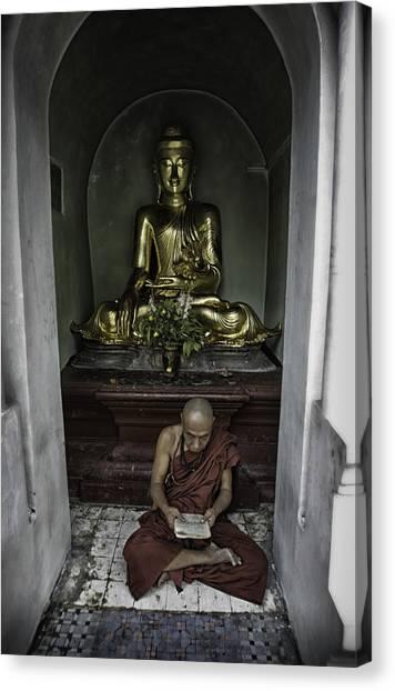 Buddhism Canvas Print - Alone At Shwedagon by David Longstreath