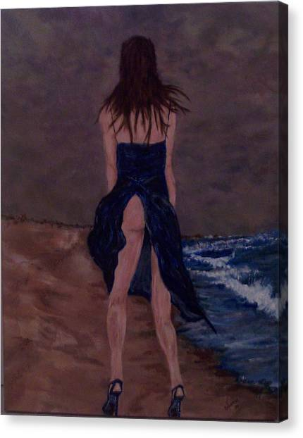 Alone By The Sea Canvas Print by Francis Bourque