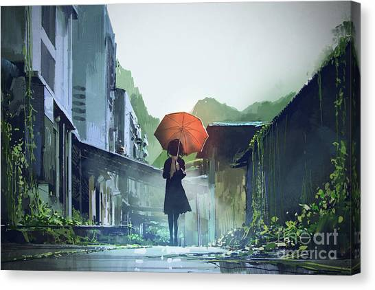 Canvas Print featuring the painting Alone In The Abandoned Town by Tithi Luadthong