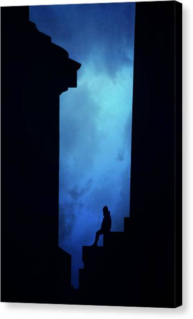 Alone Canvas Print - Alone In The City- Edinburgh by Cambion Art