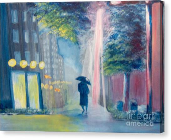 Canvas Print featuring the painting Alone by Saundra Johnson
