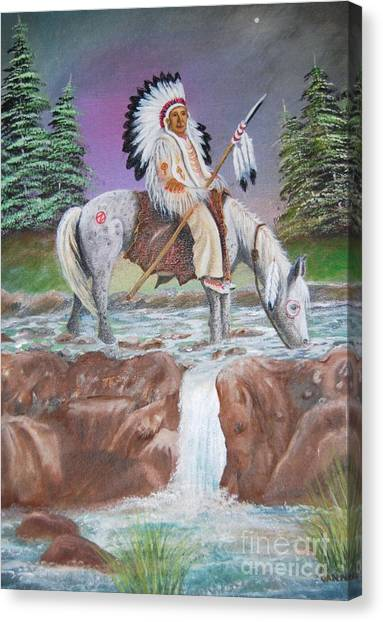 Alone With The Great Spirit Canvas Print by Janna Columbus