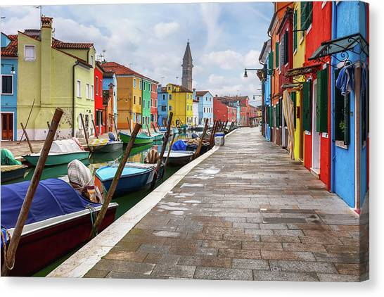 Along The Canal In Burano Island Canvas Print