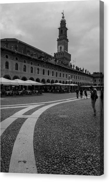 Along The Square  Canvas Print