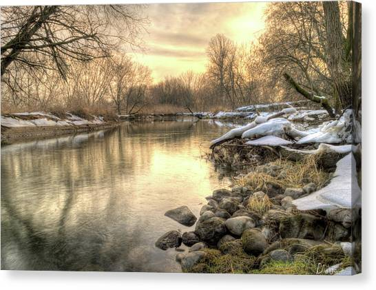 Along The Thames River Signed Canvas Print