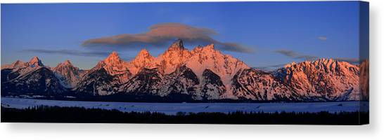Alpenglow Tetons 2 Canvas Print
