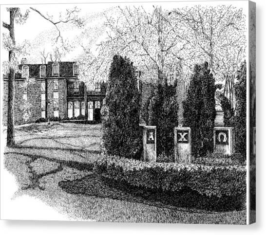Chi Omega Canvas Print - Alpha Chi Omega Sorority House, Purdue University, West Lafayette, Indiana by Stephanie Huber