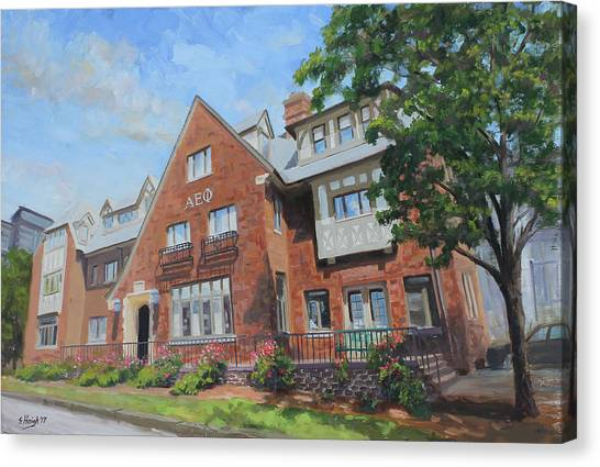 Alpha Phi Alpha Canvas Print - Alpha Epsilon Phi Sorority House University Of Illinois by Steve Haigh
