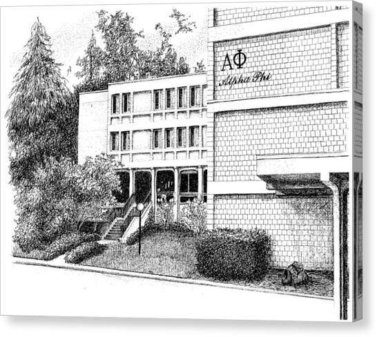 Alpha Phi Canvas Print - Alpha Phi Sorority House, Purdue University, West Lafayette by Stephanie Huber