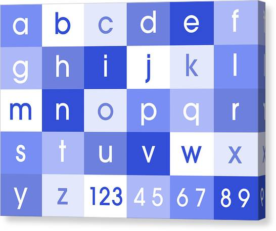 Learning Canvas Print - Alphabet Blue by Michael Tompsett
