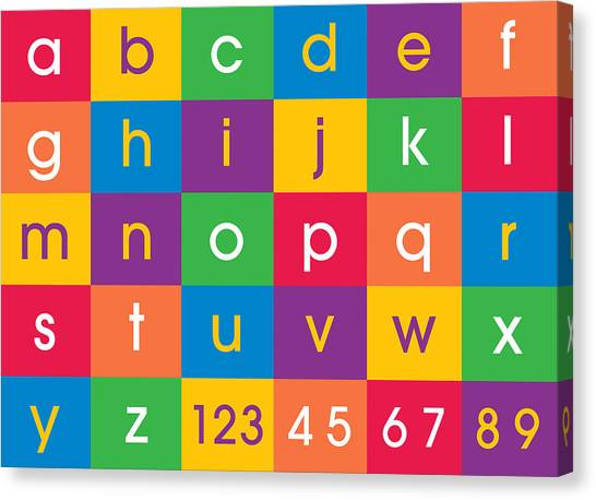 Childrens Room Canvas Print - Alphabet Colors by Michael Tompsett